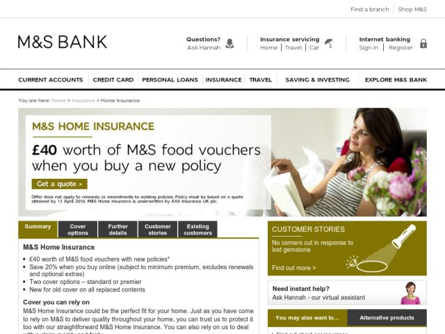 Coupons for Marks and Spencer Home Insurance