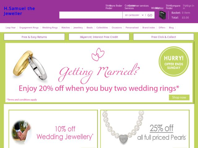 H Samuel Discount Codes 25%. OFF. Voucher Code 25% off diamond jewellery at H Samuel 16 people used today Get discount code & visit site Free delivery on £49 spend at H Samuel Get Deal Comments 0 Comments. No comments yet Be the first, leave a .