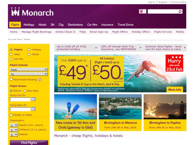Coupons for Monarch Flights