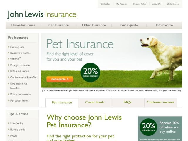 Coupons for John Lewis Pet Insurance