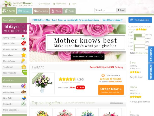 Coupons for Serenata Flowers