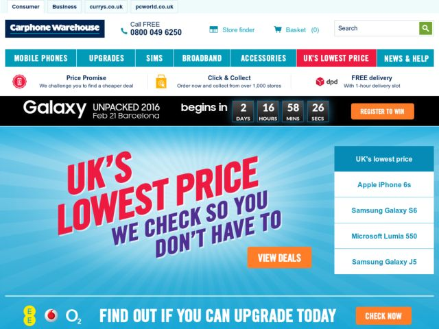 Coupons for Carphone Warehouse