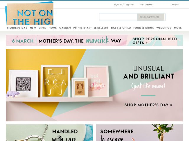 Notonthehighstreet is an e-commerce business that was first launched from a kitchen table by Holly Tucker and Sophie Cornish in The online store strives to make small creative businesses and the unique, stylish products they make, easily accessible to buyers.