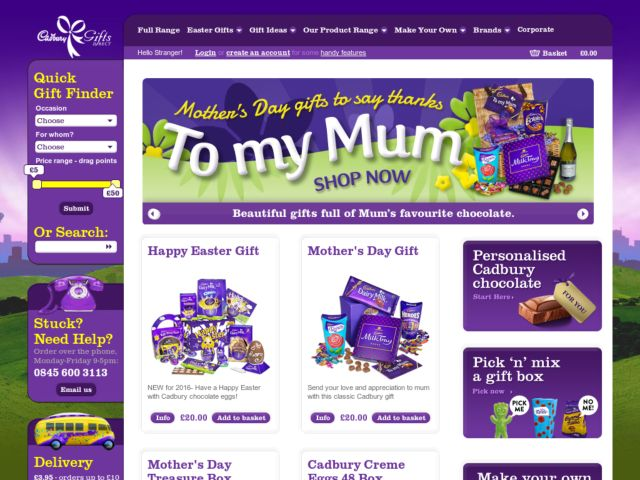 Coupons for Cadbury Gifts Direct