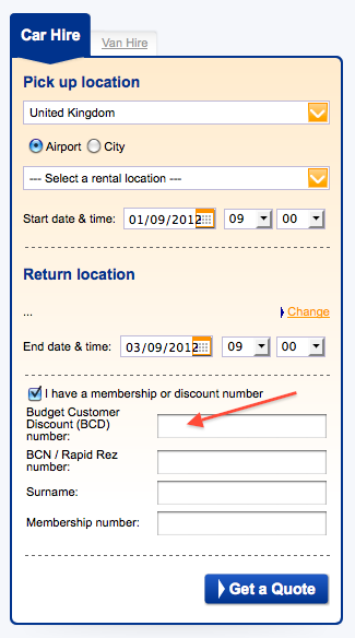 A Budget Customer Discount (BCD) number will entitle renters to big savings and by making a pre-pay online reservation, discounts can be deducted from the total price. read more These days, motorists don't have to fork out and buy a vehicle to have a mode of transport, thanks to the affordable hire options available from Budget Rent-a-Car UK.