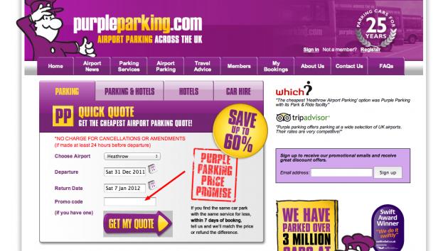 The price for parking at these airports can get quite costly due to demand being greater than supply. To help you get a discount on the purple parking sites we have set up promo code PPSAVE. The Purple Parking code can also be used to gain a discount at other airport car parks across the country when you use our advance comparison search engine.